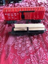 Marx 249319 Marlines Boxcar Blue Man Figure And Short Flat Car With Wood Logs