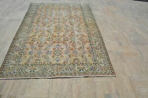 Turkish Beige Rug,  Orange Antique rug, Oushak Area Vintage Rugs, Turkish carpet