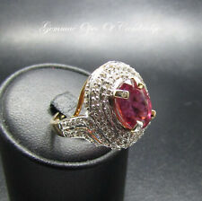 18K gold 18ct Gold Rubellite and Diamond Cluster Ring Size O 8.3g US Size 7