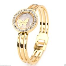 Luxury 14K Gold Floating Crystals Butterfly SS Women's Hollow Bangle Bracelets