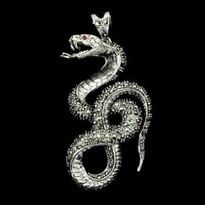 Pendant Marcasite and Pink Ruby Genuine Gems Solid Sterling Silver Snake Design