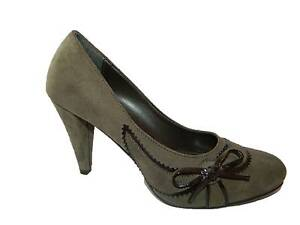 Court Shoes Women's Shoes Heeled Suede Taupe Made IN Italy