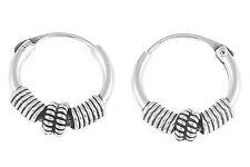 Sterling Silver 10mm Coil Tribal Bali Hoop Earring