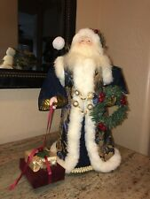 """Christmas Tree Topper Old World Santa In Fur Coat 16"""" Holding Presents Beautiful"""