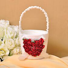 Ivory Red Rose Heart-shape Wedding Ceremony Satin Flower girl Basket GB29d