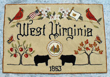 "100% WOOL DOORMAT 23"" X 33""  ""WEST VIRGINIA""  a FOLKHEART ORIGINAL DESIGN"