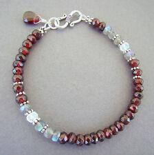 Garnet, Rainbow Moonstone, Labradorite 925 Sterling Silver Bracelet U&C Sundance