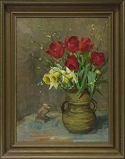 "Carlo Hornung Jensen 1882-1960 ""nature morte   Printemps Strauss tulipes & Narcisses"