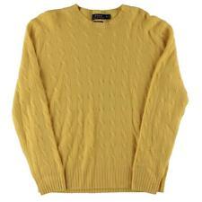 Polo Ralph Lauren 3938 Mens Yellow Cashmere Pullover Sweater Shirt XL BHFO