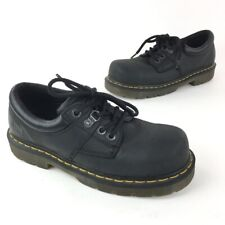 Dr. Martens Black Leather Shoes Steel Toes Mens Size 8 Woman's 9
