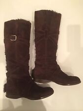 Genuine HOGAN Suede Fur Trim Flat Boots - Brown - Size 38.5
