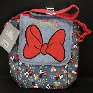 Disney Minnie Mouse Insulated Dual School Lunch Bag Blue Denim Red Bow Rainbow