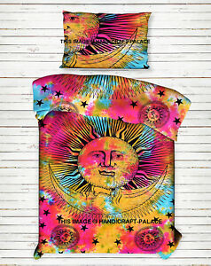 Teinture Multi Ethnique Soleil Lune Mandala Indien Coton Couvre-Lit Suspendu Set