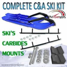 """C&A Pro Blue RZ Snowmobile Skis w/ 8"""" Woody's Complete Kit"""