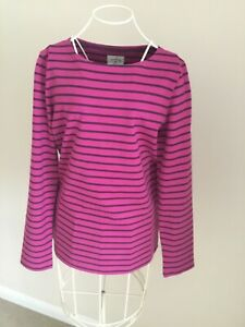 Joules Harbour Top, fushia stripe, long sleeves, size 10 good condition
