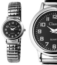 Damen Armbanduhr Schwarz/Silber Metall-Zugarmband ca.16cm Armumfang von CLASSIX