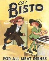 Ah Bisto VINTAGE ADVERTISING ENAMEL METAL TIN SIGN WALL PLAQUE Kitchen Food