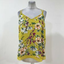 NEW RIVER ISLAND Yellow Mustard Floral Summer Cami Vest Top Women Size UK 12 163