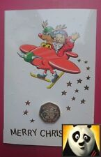 1996 GIBRALTAR Christmas 50p Fifty Pence Santa and His Biplane Coin Card
