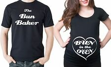 Bun in the Oven Couple maternity tees Gift Baby Announcement Pregnancy T-shirt