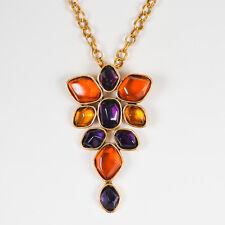 Oscar de la Renta Purple Orange Gold Plated Resin Oversize Pendant Necklace
