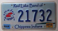 Minnesota 2013 RED LAKE BAND OF CHIPPEWA INDIANS License Plate NICE #21732