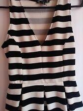 Iris Dress Black And White Stripes  - Size M.