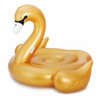 Summer Waves Large Golden Giant Ride On Swan Inflatable Swimming Pool Float Raft