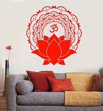 Vinyl Wall Decal Mantra Om Lotus Flower Yoga Buddhism Stickers (1522ig)