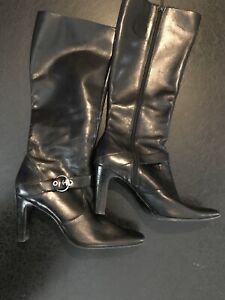 AK ANNE KLEIN iFlex AKBITSY Women's Black Leather Tall Boots Size 9.5