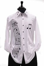 Axxess White Cotton Black Music Notes Embroidery High Collar French Cuff Shirt