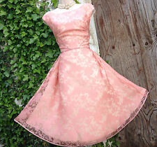BNWT Chic&Feminine MONSOON Puka: peachy pink floral organza fit&flare dress 14