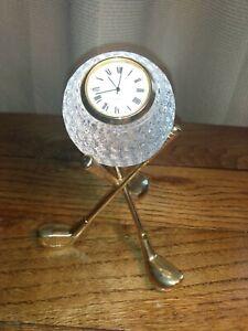 Quartz Clock in 24% Lead Crystal Glass Golf Ball Gold Golf Club Tripod Desktop