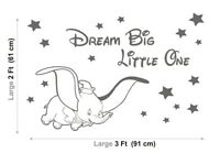 DUMBO Wall Stickers DISNEY Dream Big LITTLE One NURSERY Baby Vinyl Decals Stars