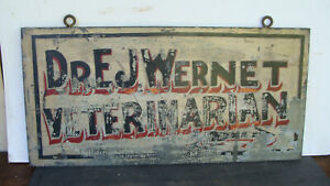 ca 1900 heavy (21 lbs) metal over wood double sided Veterinary trade sign  *