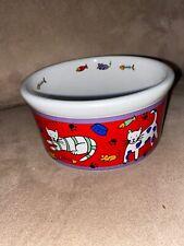 Retired Vintage Stoneware Riviera Van Beers Good Cat Food Water Dish Bowl