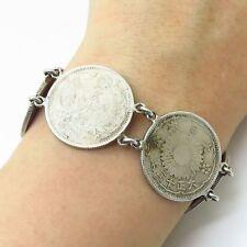 "Antique 925 Sterling Silver Japanese Yen Coin Link Bracelet 7"""