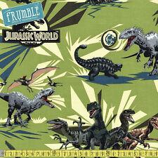Springs Creative Fabric Jurassic Park Jungle Rules Green PER METRE Dinosaur Dino