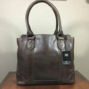 Frye Melissa Antique Italian Leather Large Tote Shoulder Bag Dark Brown $398 NWT