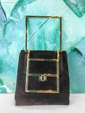 $1600 JUDITH LEIBER Brown Suede Gold Bar Top Handle Turnlock Evening Bag Clutch