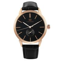 Men Automatic Mechanical Watch Stainless Steel Skeleton Leather Strap Wristwatch