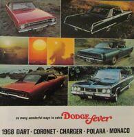 1968 Dodge Dart Coronet Charger Polara Monaco Original Sales Brochure Scat Pack