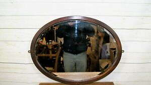 Large Antique Edwardian Art Nouveau Mahogany Frame Oval Wall Over Mantle Mirror