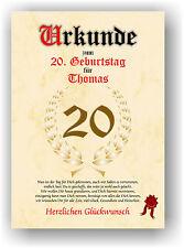 Geschenkidee zum 20. Geburtstag Urkunde Geburtstagsurkunde Geburtstagskarte NEU