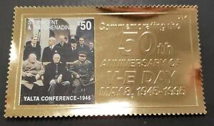 St. Vincent 1995 - V-E Day 50th Anniv. Yalta Conference - 23k Gold Stamp - MNH
