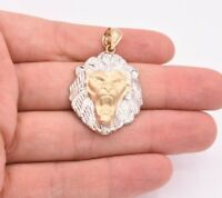 "1 3/4"" Diamond Cut Roaring Lion Head Charm Pendant Real 10K White Yellow Gold"