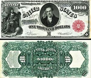 NEW listing Reproduction Rare 1880 $1000 Bill/High Res/ + Bonus 1880 $10 bill