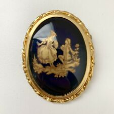 Vintage Limoges Pin Brooch Ceramic Blue Gold Painted Signed Made In France