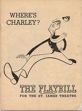 1949 Playbill George Abbott's Where's Charley? Ray Bolger  Hirschfeld Cover