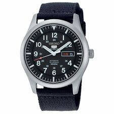 SEIKO 5 SNZG15 SNZG15K1 Army Automatic Nylon Black Dial Stainless Steel Watch